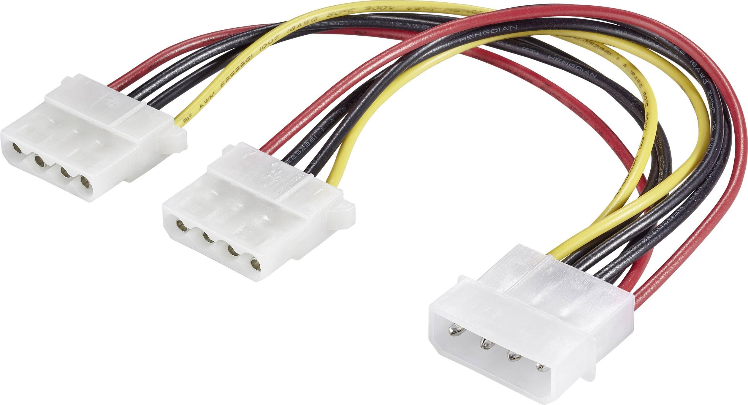 Predlžovací kábel Renkforce RF-4166742, [1x IDE prúdová zástrčka 4-pólová - 2x IDE prúdová zásuvka 4-pólová], 0.20 m, čierna, červená, žltá