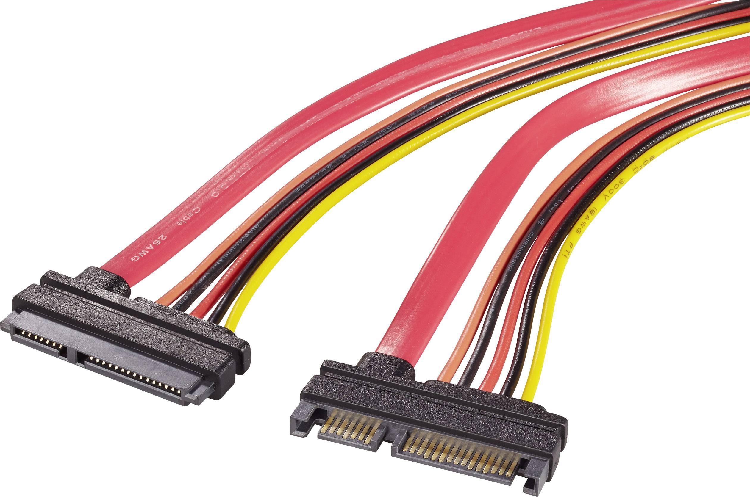 SATA II predlžovací kábel Renkforce RF-4174578, červená, oranžová, čierna, žltá