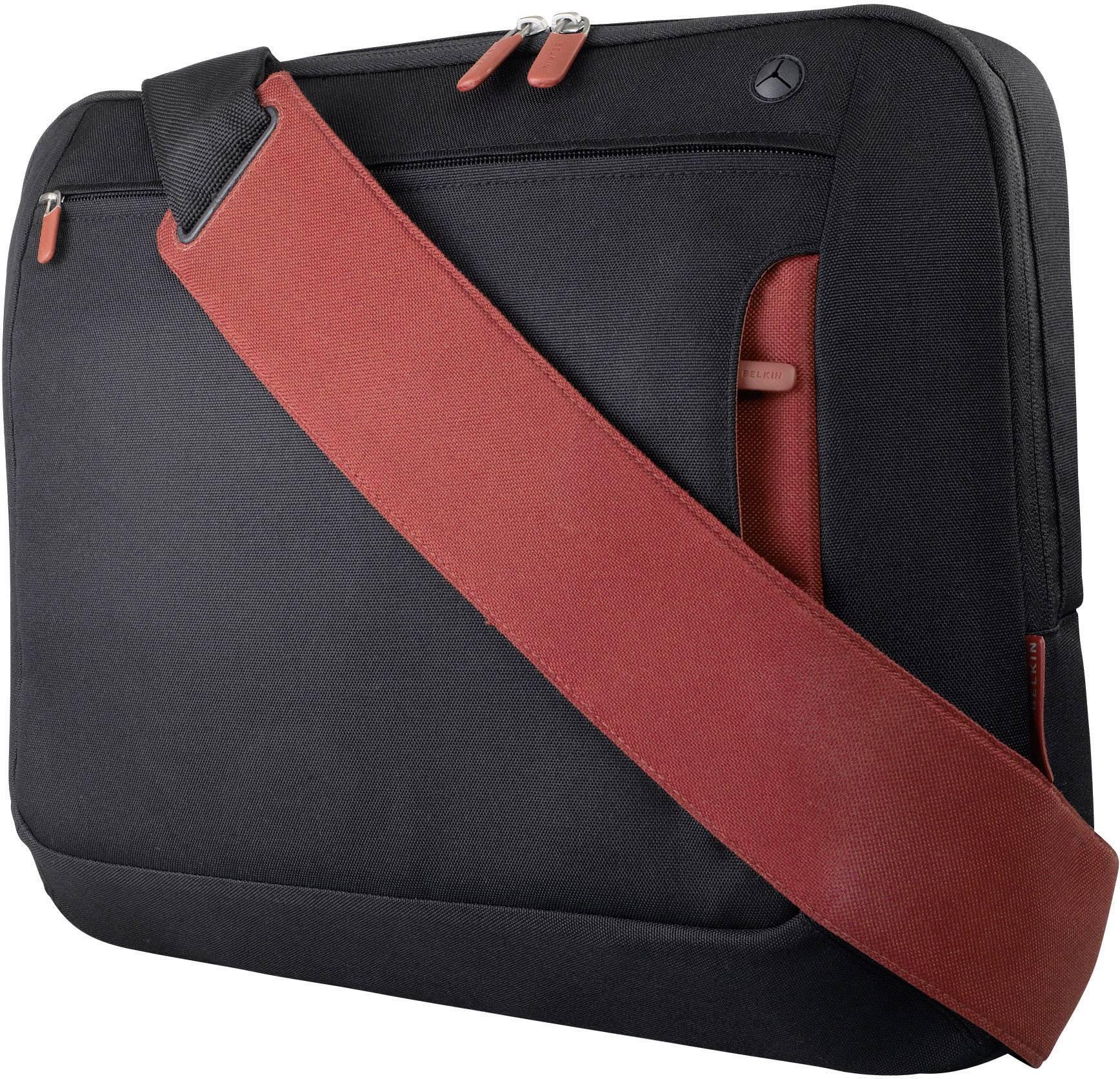 """Taška na notebook Belkin Kurier F8N051eaBR s max.veľkosťou: 43,2 cm (17"""") , čierna, červená"""