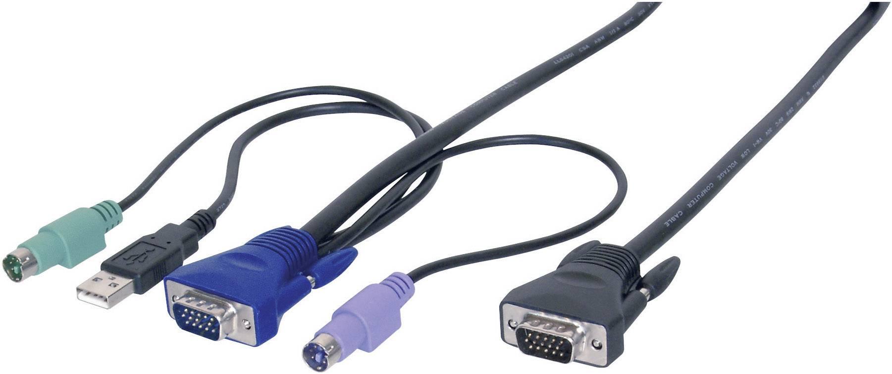 KVM kábel Digitus AK 82002, 3 m, čierna