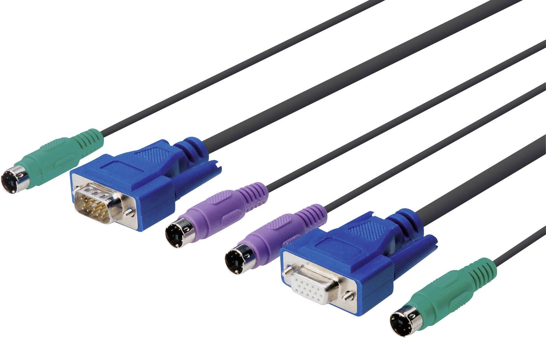 KVM prepojovací kábel Digitus DS-19121, 1.8 m, čierna