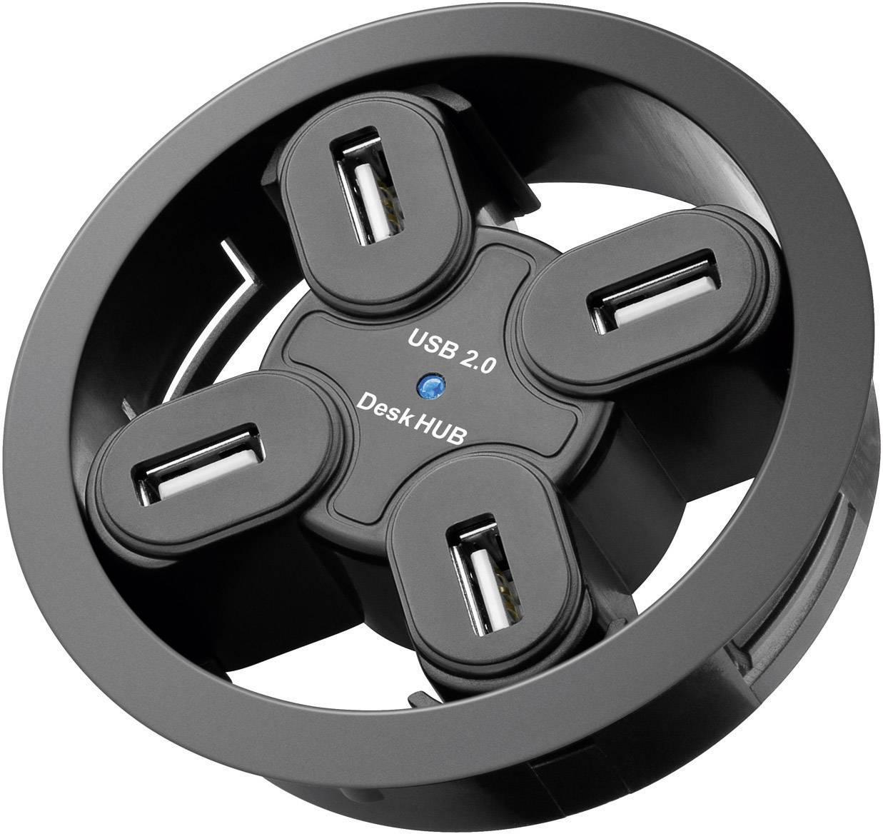 USB 2.0 hub Goobay 93895 Inbyggnad 60mm, s 4 portmi, čierna