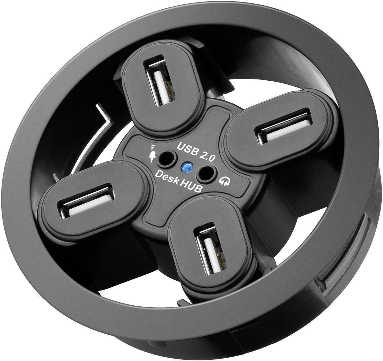 USB 2.0 hub Goobay s 4 portmi, s audio portami, čierna