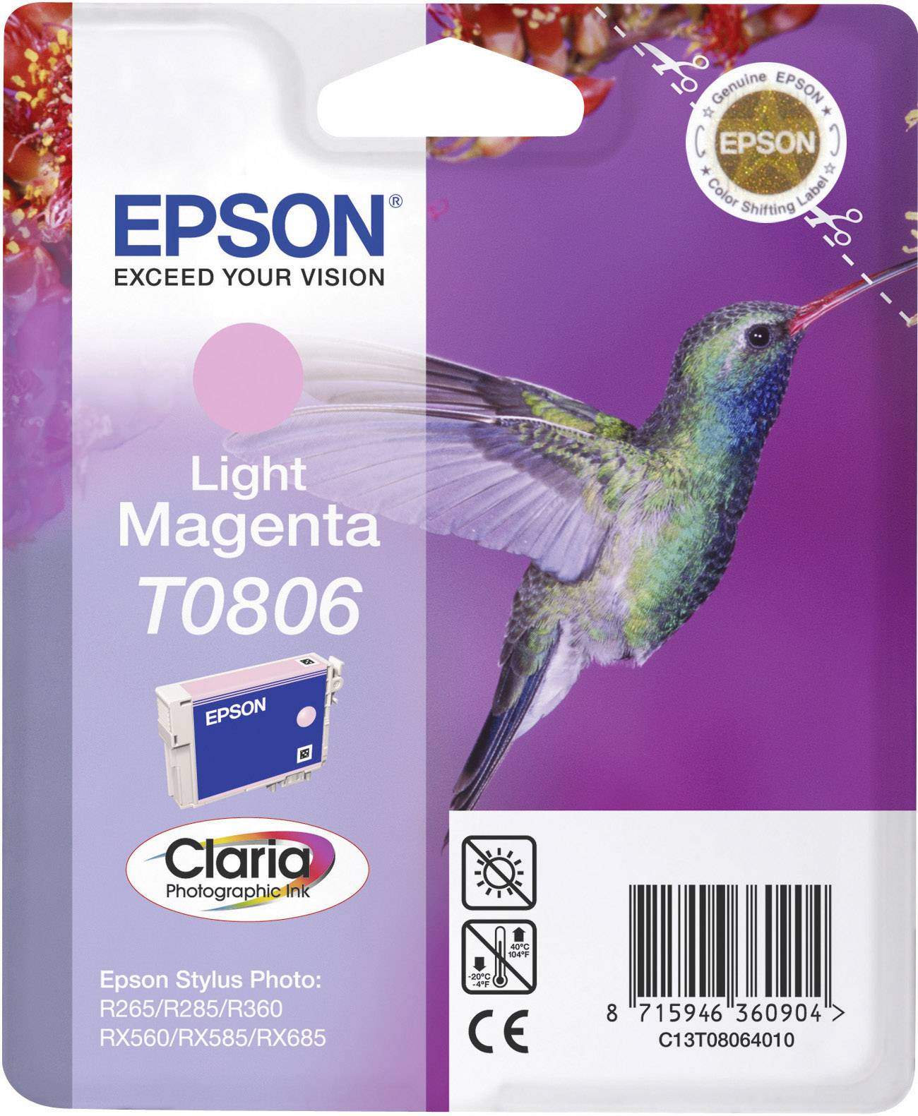 Náplň do tlačiarne Epson T0806 C13T08064011, svetlá purpurová