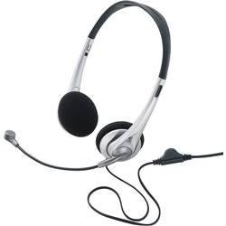 Headset k PC jack 3,5 mm na kabel, stereo Basetech TW-218 na uši černá/stříbrná