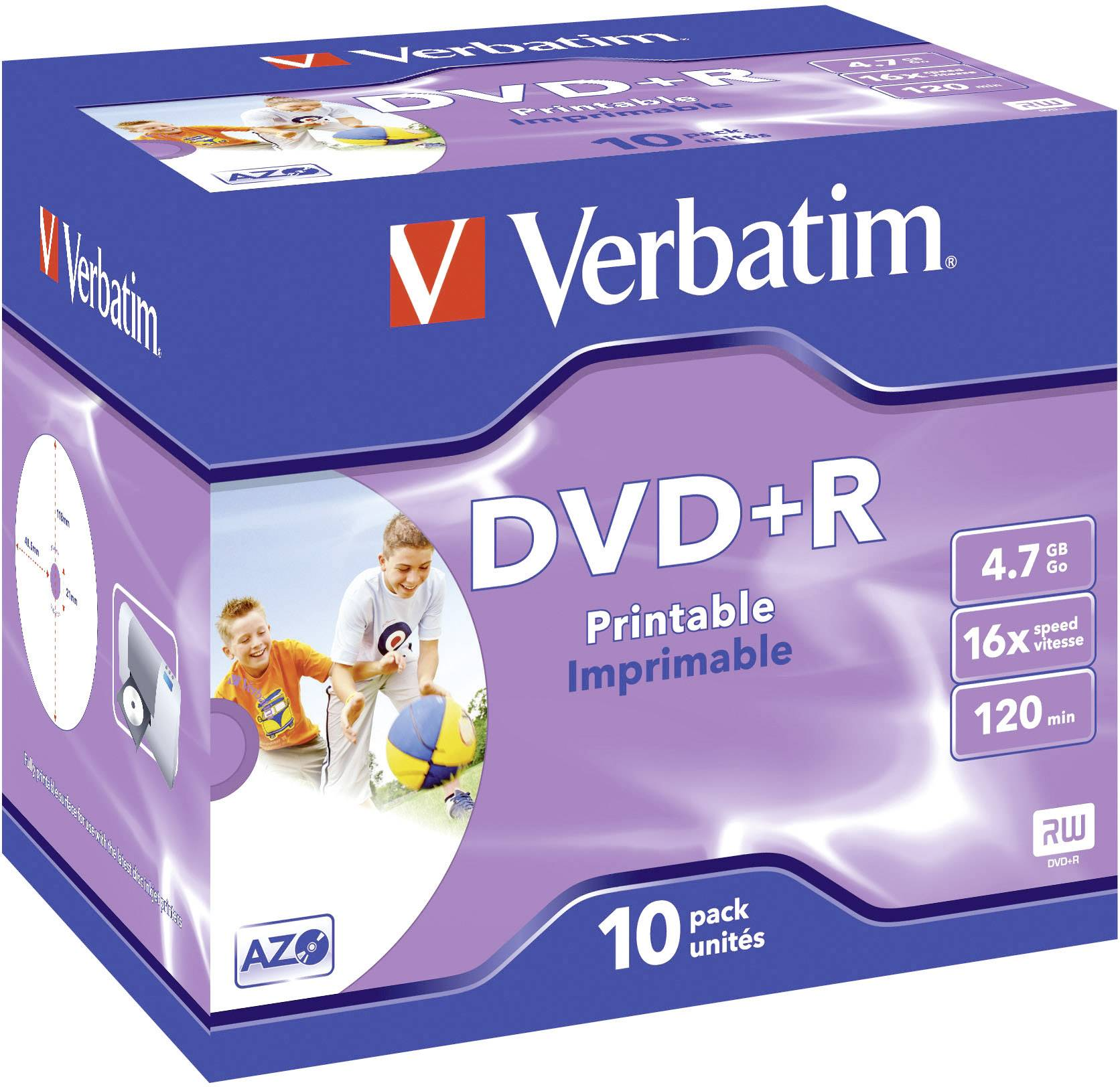 DVD+R 4.7 GB Verbatim 43508, možnosť potlače, 10 ks, Jewelcase