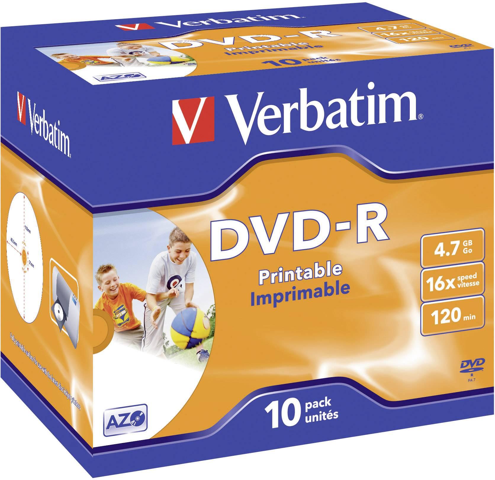 DVD-R 4.7 GB Verbatim 43521, možnosť potlače, 10 ks, Jewelcase