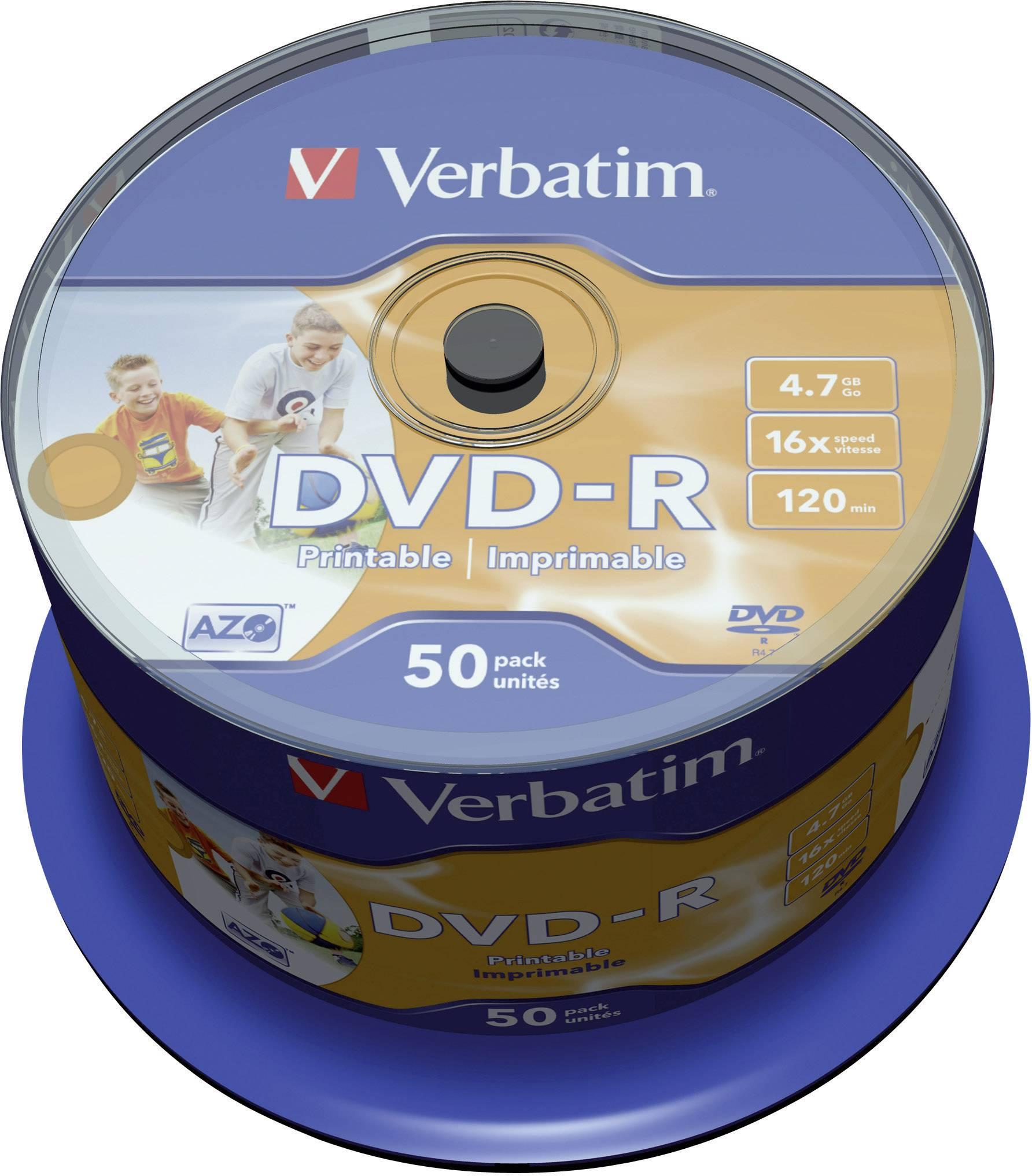 DVD-R 4.7 GB Verbatim 43533, možnosť potlače, 50 ks, vreteno