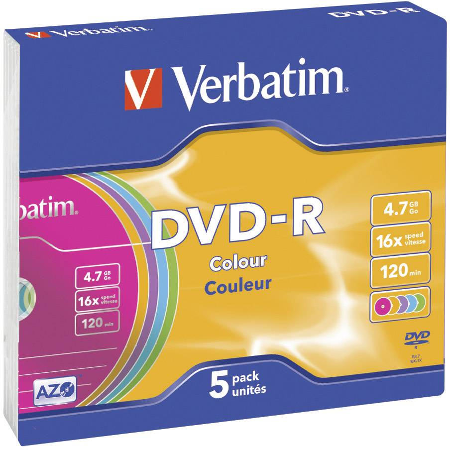 DVD-R 4.7 GB Verbatim 43557, farebné, 5 ks, SlimCase