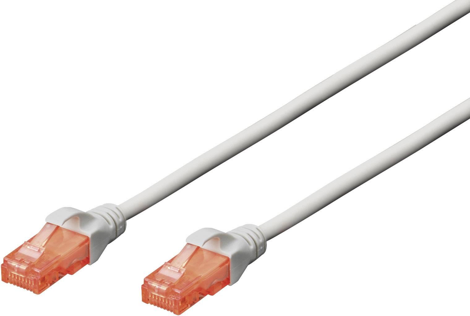 Sieťový prepojovací kábel RJ45 Digitus Professional DK-1617-050, CAT 6, U/UTP, 5 m, sivá