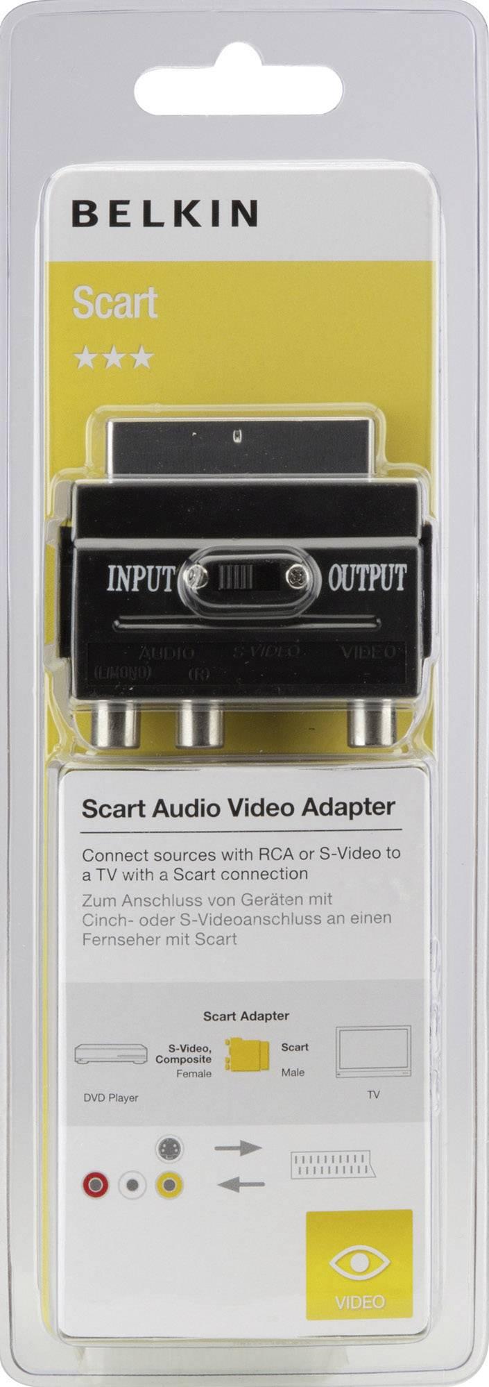 SCART / S-Video TV, monitor adaptér Belkin F3Y051bf, 0 m, čierna