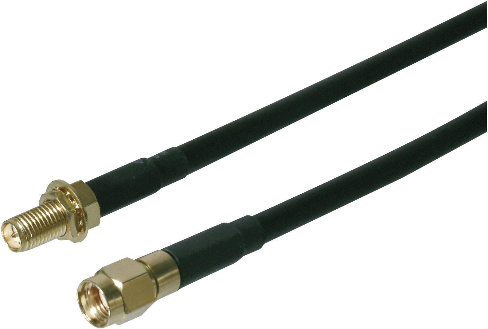 Anténí kabel vhodný pro Wi-Fi, SMA vidlice ⇔ SMA zásuvka, 2 m, černý, Digitus