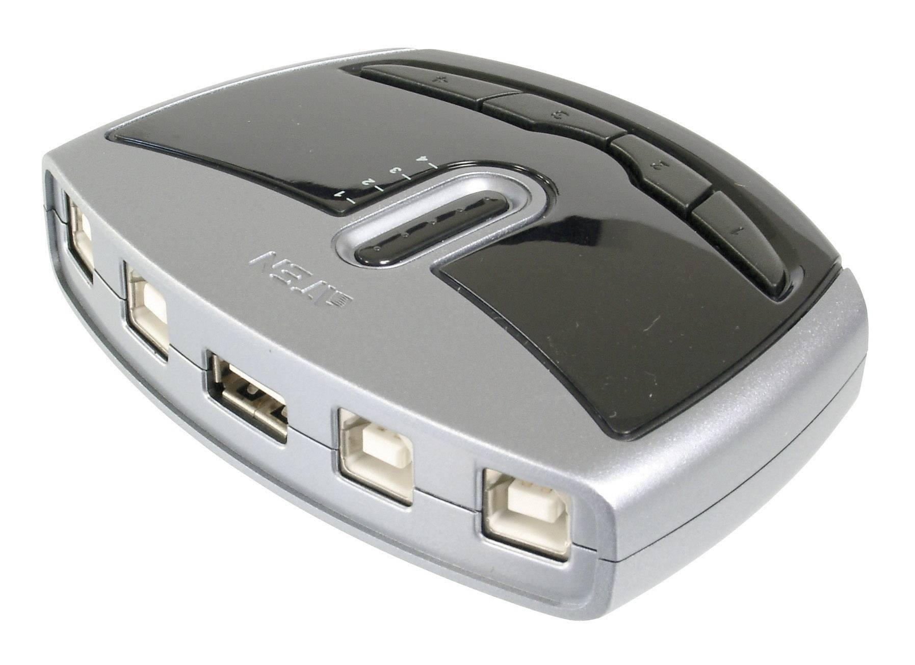 USB 2.0 prepínač ATEN ASS-US421, strieborná