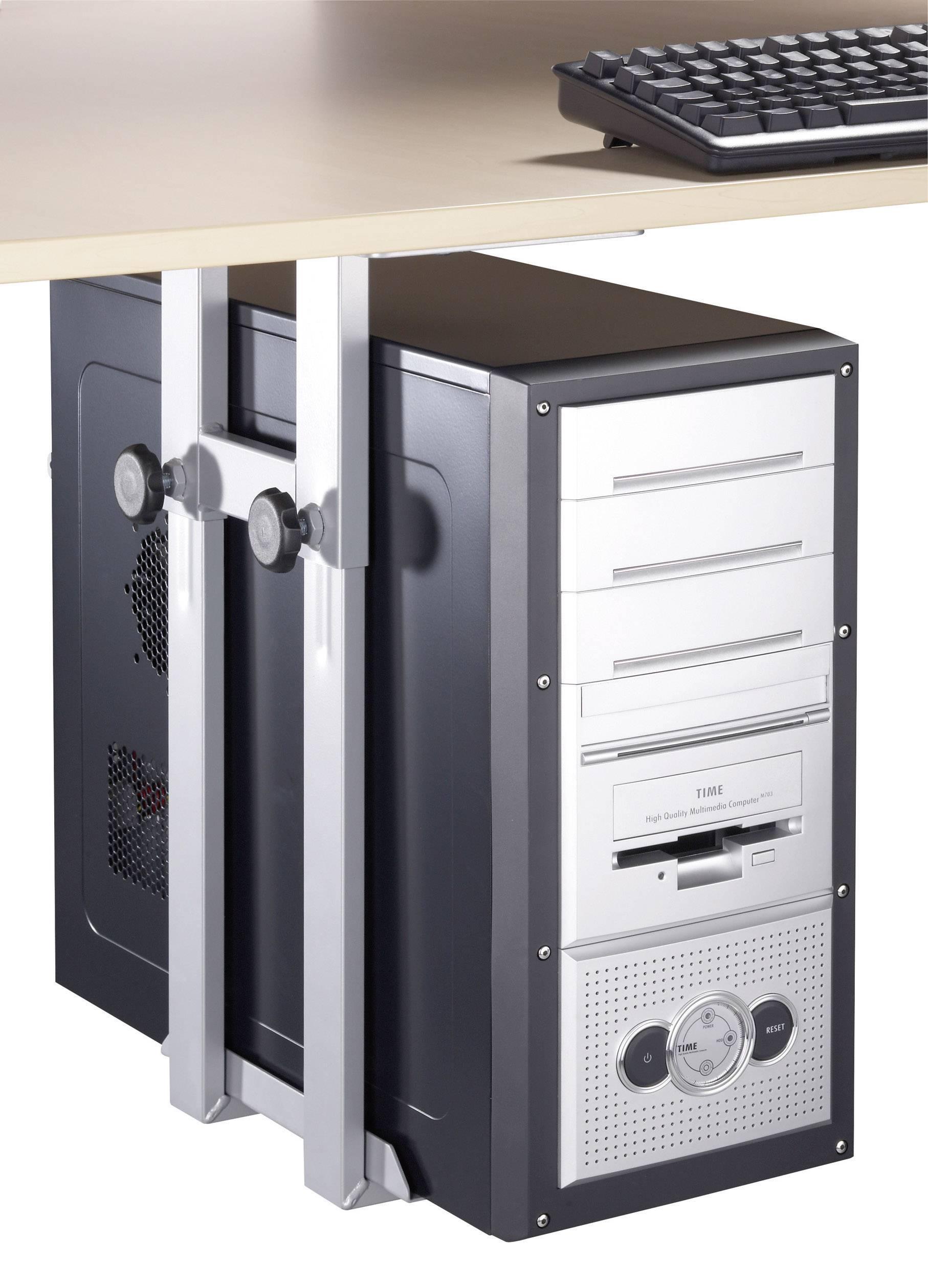 Držák PC pod stůl, stříbrný