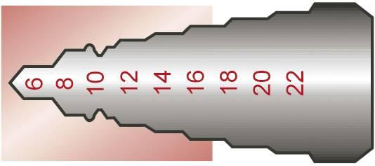 HSS stupňovitý vrták Exact 07013, 6 - 30 mm, TiN, kužeľový záhlbník, 1 ks