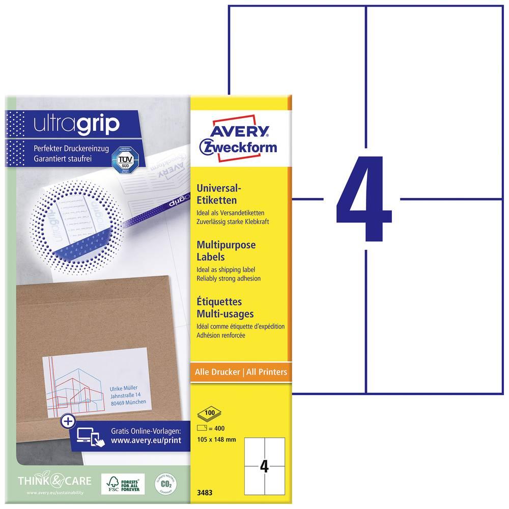Avery-Zweckform 3483 etikety 105 x 148 mm papír bílá 400 ks permanentní univerzální etikety inkoust, laser, kopie 100 Sheet A4