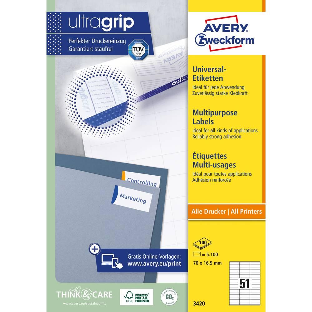 Avery-Zweckform 3420 etikety 70 x 16.9 mm papír bílá 5100 ks permanentní univerzální etikety inkoust, laser, kopie 100 Sheet A4