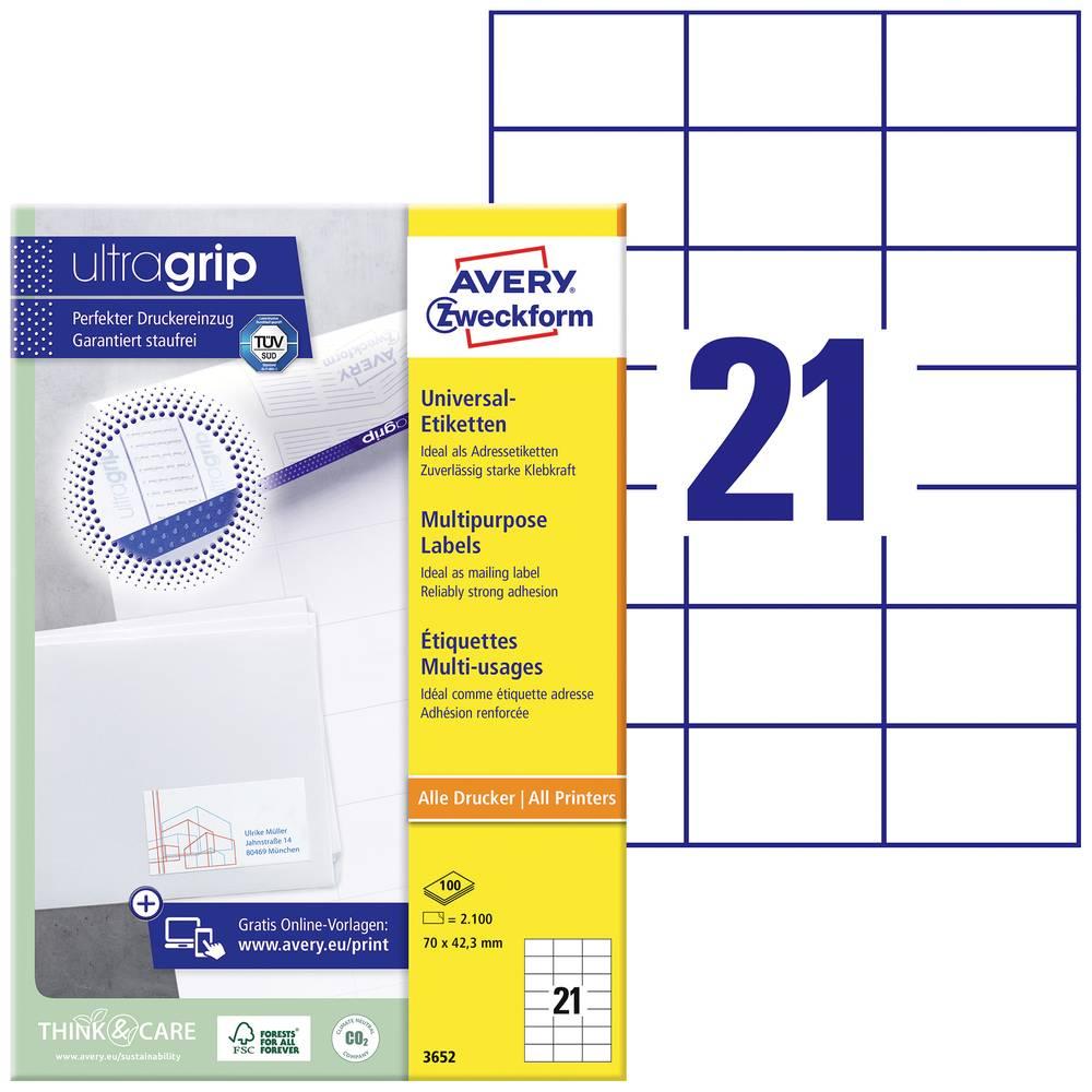 Avery-Zweckform 3652 etikety 70 x 42.3 mm papír bílá 2100 ks permanentní univerzální etikety inkoust, laser, kopie 100 Sheet A4