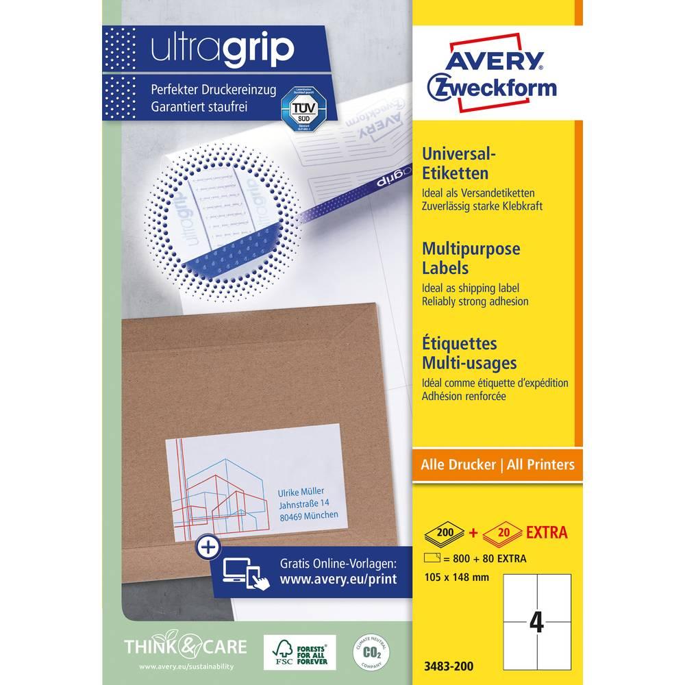 Avery-Zweckform 3483-200 etikety 105 x 148 mm papír bílá 880 ks permanentní univerzální etikety inkoust, laser, kopie 220 Sheet A4