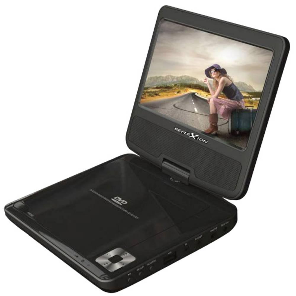 Reflexion DVD7002 Přenosný DVD přehrávač 17.78 cm 7 palec en.třída: A+ (A++ - E) s integrovaným DVD přehrávačem, napájení z akumulátoru, vč. 12V připojovacího kabelu do auta černá