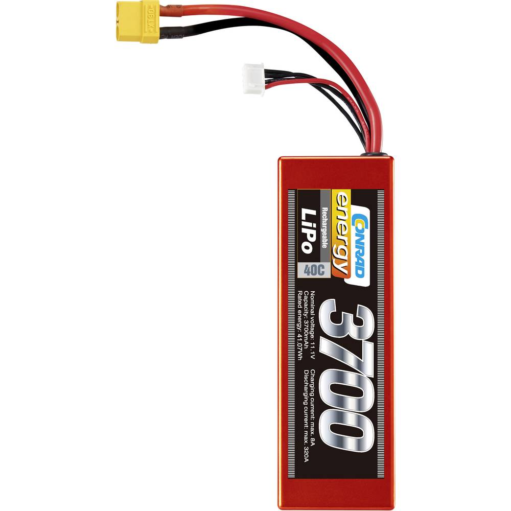 Conrad energy akupack Li-Pol (modelářství) 11.1 V 3700 mAh Počet článků: 3 40 C Box Hardcase XT90