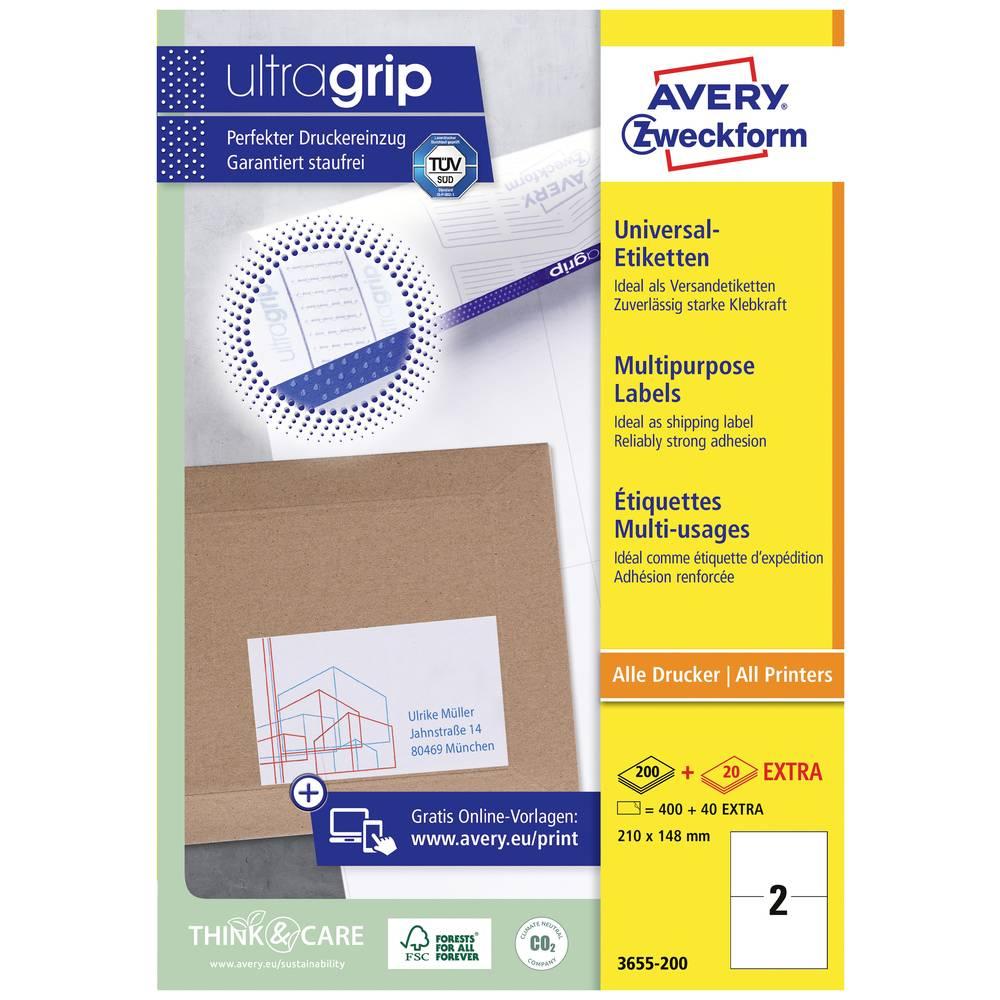 Avery-Zweckform 3655-200 etikety 210 x 148 mm papír bílá 440 ks permanentní univerzální etikety inkoust, laser, kopie 220 Sheet A4
