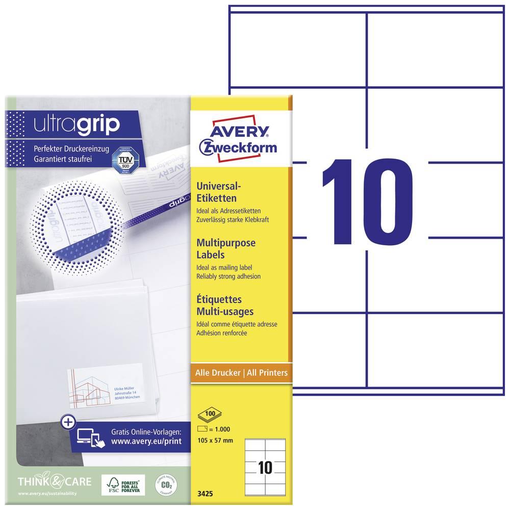 Avery-Zweckform 3425 etikety 105 x 57 mm papír bílá 1000 ks permanentní univerzální etikety inkoust, laser, kopie 100 Sheet A4