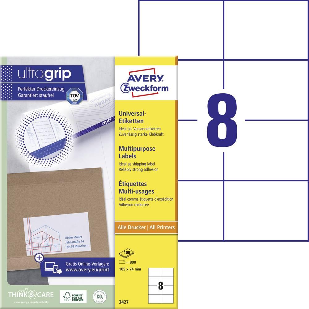 Avery-Zweckform 3427 etikety 105 x 74 mm papír bílá 800 ks permanentní univerzální etikety inkoust, laser, kopie 100 Sheet A4