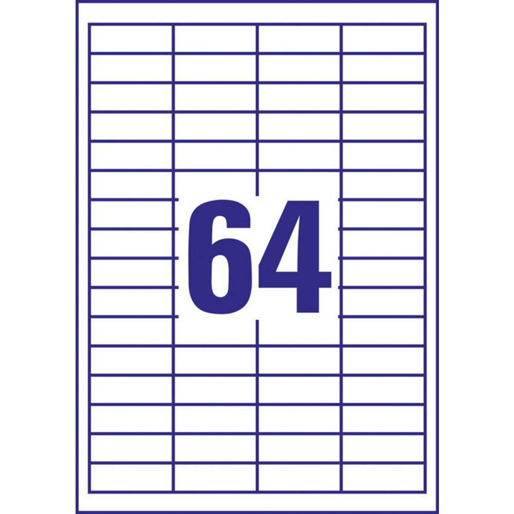 Avery-Zweckform 3667 etikety 48.5 x 16.9 mm papír bílá 6400 ks permanentní univerzální etikety inkoust, laser, kopie 100 Sheet A4