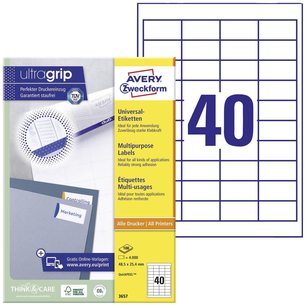 Avery-Zweckform 3657 etikety 48.5 x 25.4 mm papír bílá 4000 ks permanentní univerzální etikety inkoust, laser, kopie 100 Sheet A4