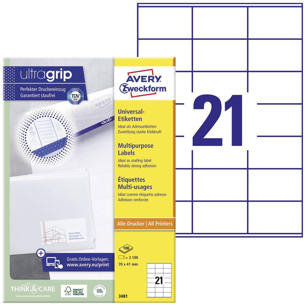 Avery-Zweckform 3481 etikety 70 x 41 mm papír bílá 2100 ks permanentní univerzální etikety inkoust, laser, kopie 100 Sheet A4