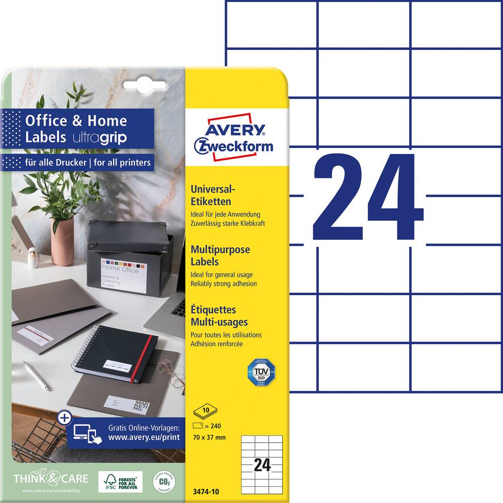 Avery-Zweckform 3474-10 etikety 70 x 37 mm papír bílá 240 ks permanentní univerzální etikety inkoust, laser, kopie 10 Sheet A4