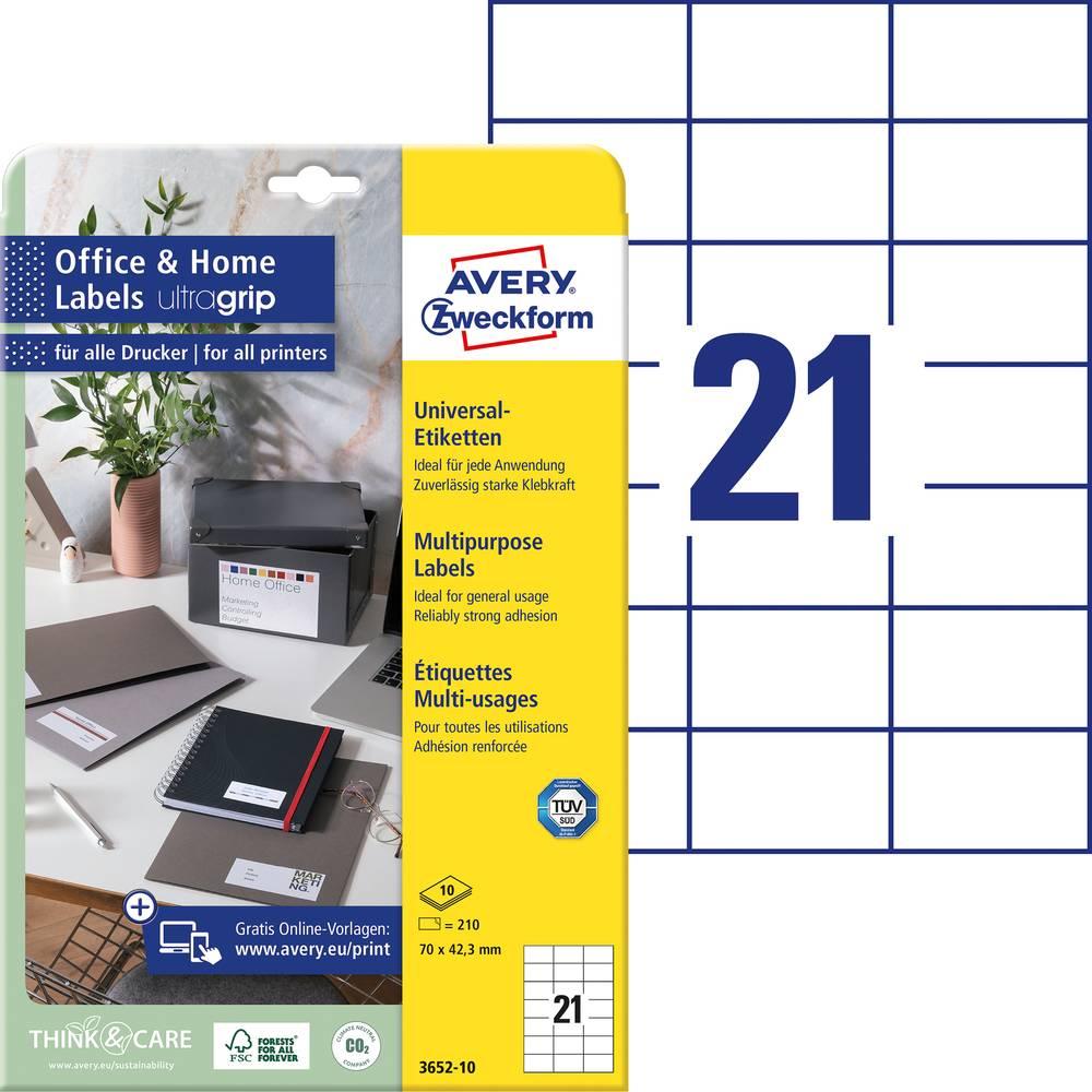 Avery-Zweckform 3652-10 etikety 70 x 42.3 mm papír bílá 210 ks permanentní univerzální etikety inkoust, laser, kopie 10 Sheet A4