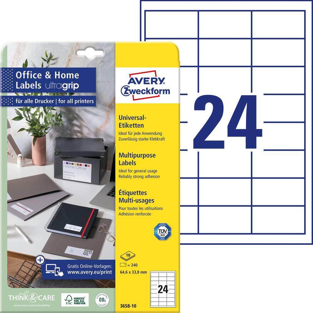 Avery-Zweckform 3658-10 etikety 64.6 x 33.8 mm papír bílá 240 ks permanentní univerzální etikety inkoust, laser, kopie 10 Sheet A4