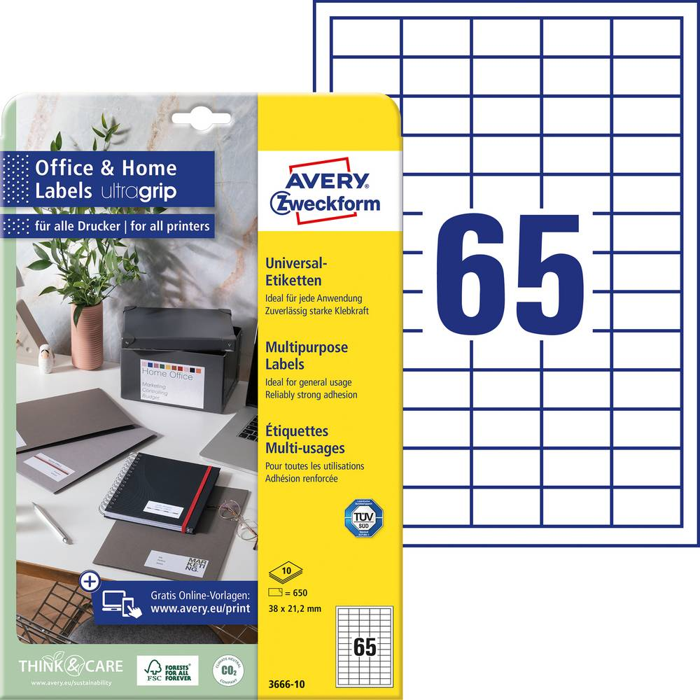 Avery-Zweckform 3666-10 etikety 38 x 21.2 mm papír bílá 650 ks permanentní univerzální etikety inkoust, laser, kopie 10 Sheet A4