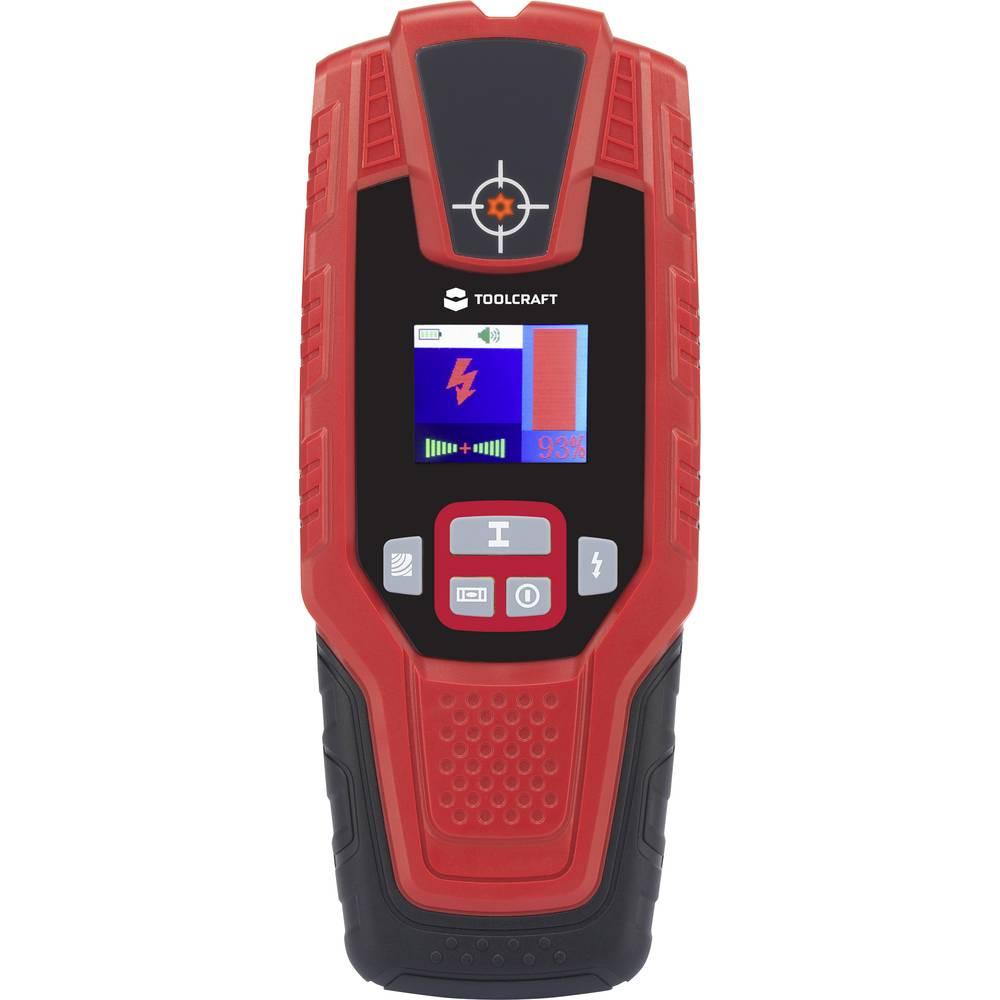 TOOLCRAFT detektor TO-5137836 Detekční hloubka (max.) 100 mm Druh materiálu dřeva, neželezných kovů, železných kovů, kabely vedoucí napětí