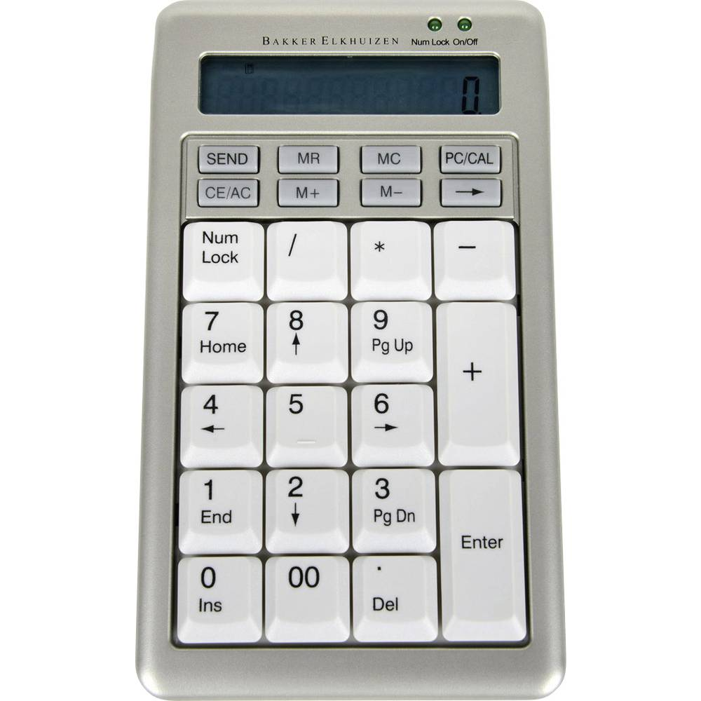 BakkerElkhuizen S-board 840 Design USB číselná klávesnice s kabelovým vozíkem, odnímatelný kabel stříbrná, bílá