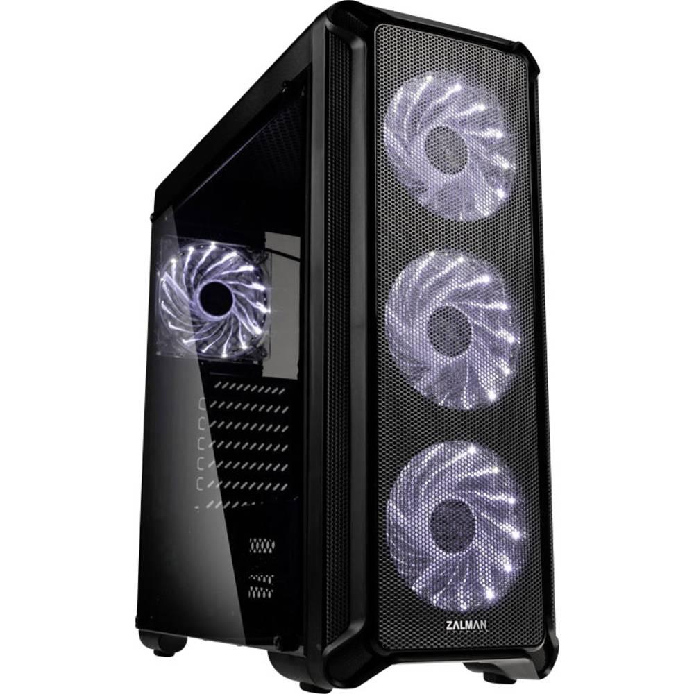 Zalman I3 midi tower PC skříň černá 4 předinstalované LED ventilátory, boční okno