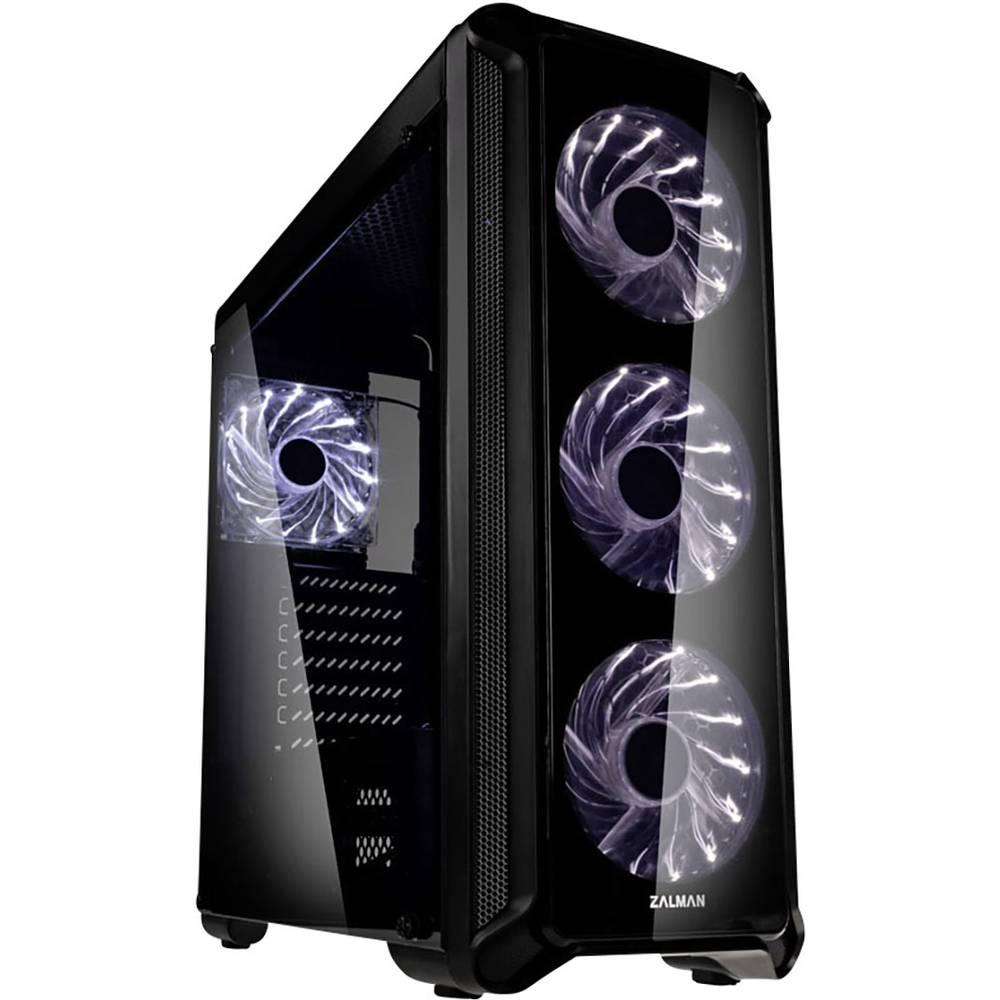 Zalman I3 Edge midi tower PC skříň černá 4 předinstalované LED ventilátory, boční okno