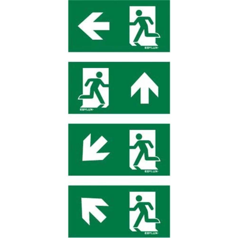 ESYLUX EN10077159 piktogram Nouzový východ vlevo, Nouzový východ vlevo, nahoru, rovně, Nouzový východ vlevo, směr doleva dolů, nouzový východ výše
