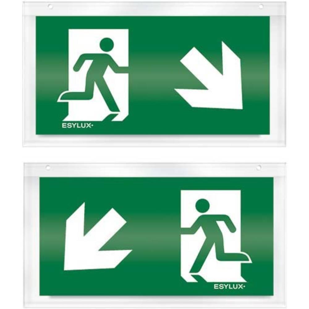 ESYLUX EN10033209 piktogram Nouzový východ vlevo, směr dolů, Nouzový východ vpravo, směr dolů