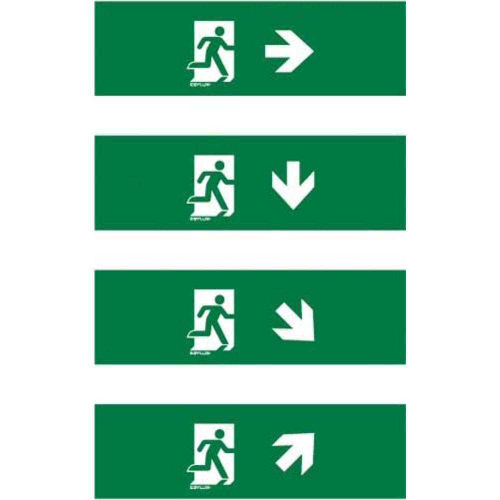 ESYLUX EN10077128 piktogram Nouzový východ vpravo , nouzový východ níže, nouzový východ, směr vpravo dolu, nouzový východ, směr vpravo nahoru