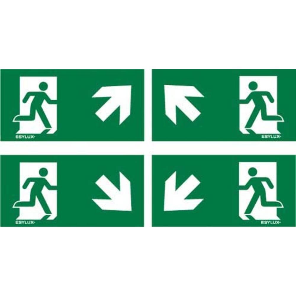 ESYLUX EN10077531 piktogram nouzový východ, směr vlevo nahoru, nouzový východ, směr vpravo nahoru, nouzový východ, směr vlevo dolu, nouzový východ, směr vpravo dolu