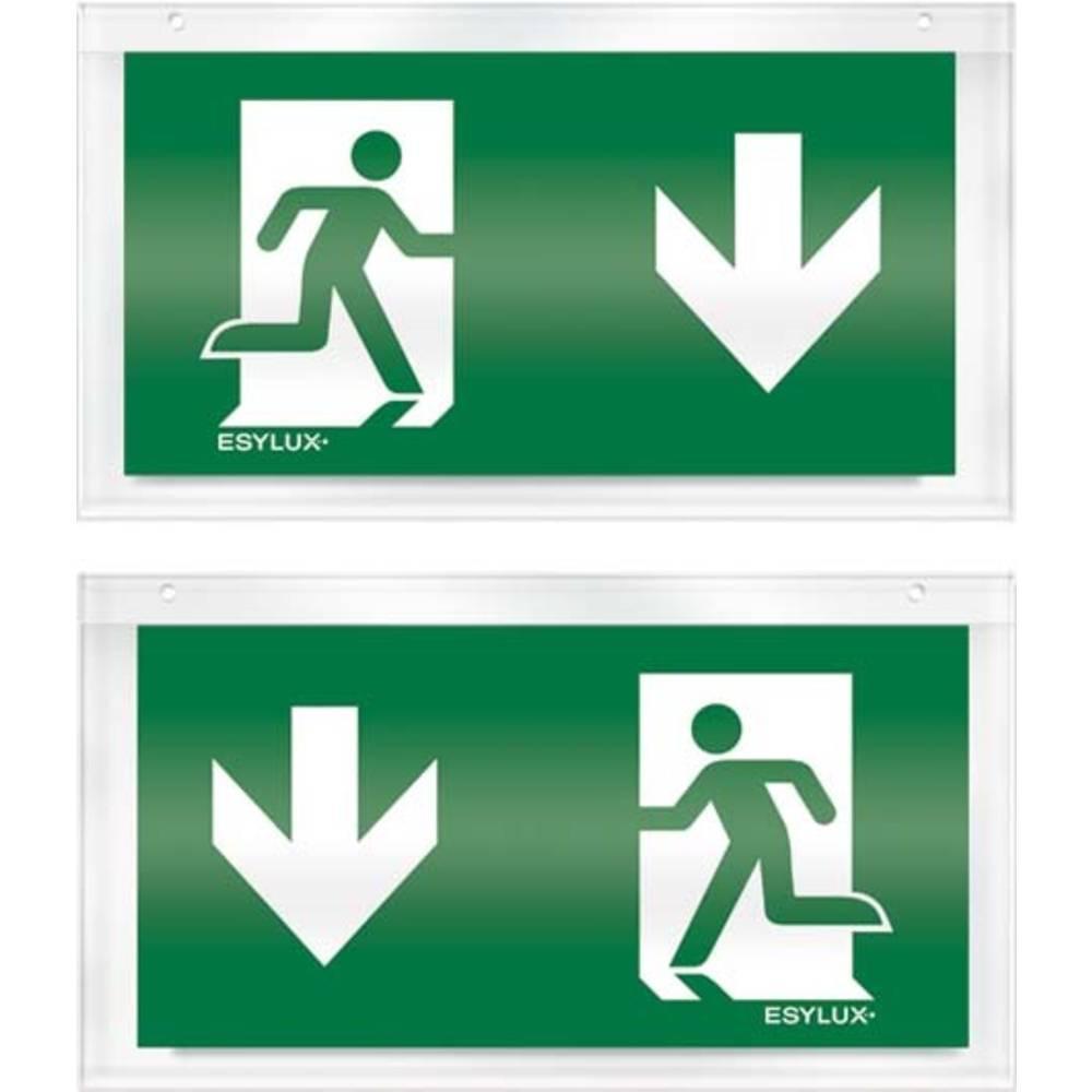 ESYLUX EN10079030 piktogram nouzový východ, směr vlevo dolu, nouzový východ, směr vpravo dolu