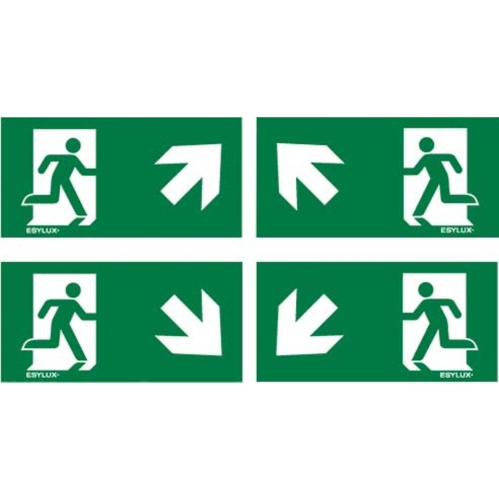 ESYLUX EN10061073 piktogram nouzový východ, směr vlevo nahoru, nouzový východ, směr vpravo nahoru, nouzový východ, směr vlevo dolu, nouzový východ, směr vpravo dolu