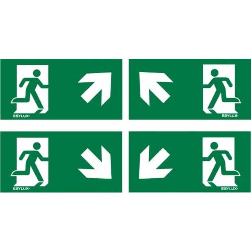 ESYLUX EN10077517 piktogram nouzový východ, směr vlevo nahoru, nouzový východ, směr vpravo nahoru, nouzový východ, směr vlevo dolu, nouzový východ, směr vpravo dolu