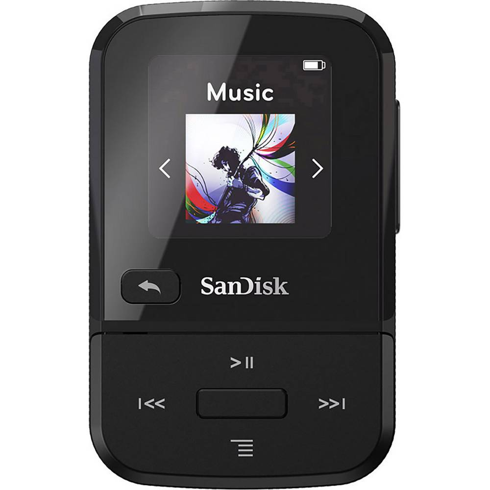 SanDisk Clip Sport Go MP3 přehrávač 16 GB černá upevňovací klip, FM rádio, hlasové nahrávání