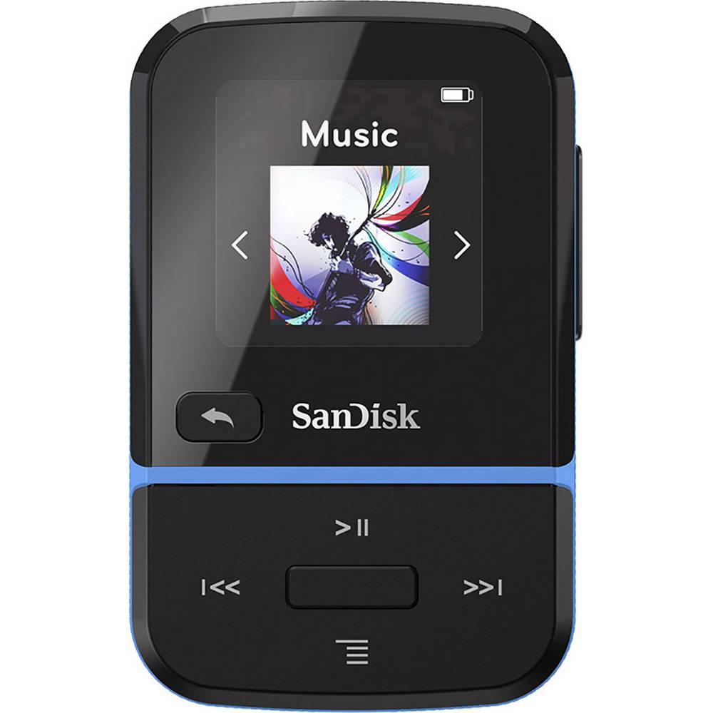 SanDisk Clip Sport Go MP3 přehrávač 32 GB modrá upevňovací klip, FM rádio, hlasové nahrávání
