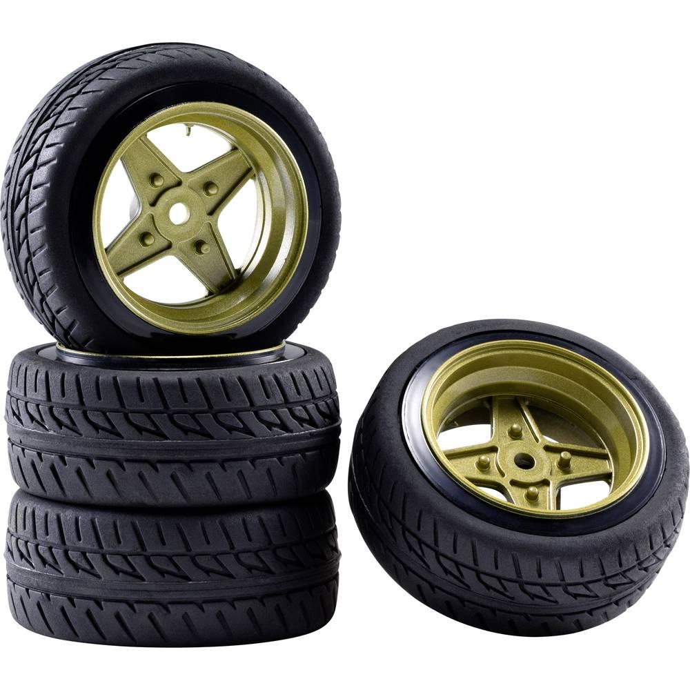 Reely 1:10 silniční model kompletní kola Racing Retro zlatá (matná) 4 ks