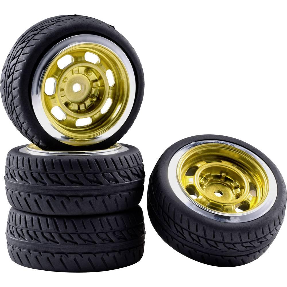 Reely 1:10 silniční model kompletní kola Racing Retro zlatá (metalíza) 4 ks
